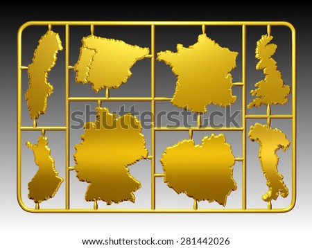 golden Model kit on a injection molded frame with separated cutouts of different European national borders  - stock photo