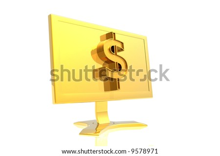golden monitor and dollar sign isolated over white background - stock photo