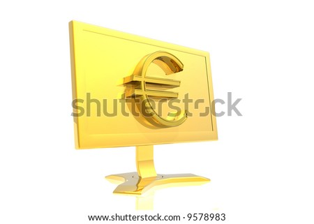 golden monitor and euro sign isolated over white background - stock photo