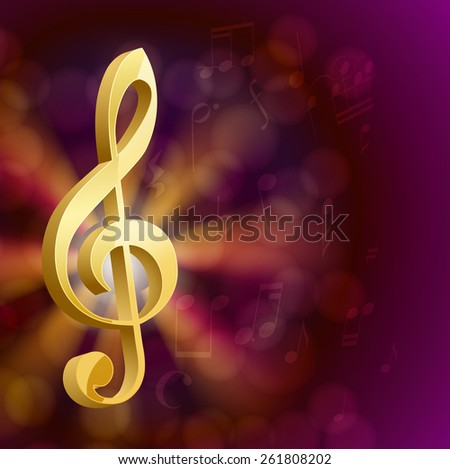 golden musical key with notes  - stock photo