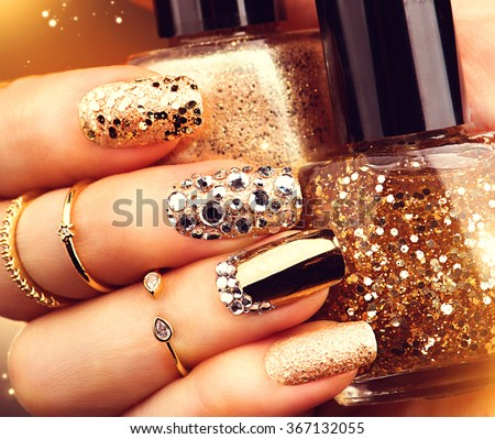 Golden Nail Art Manicure Holiday Style Stock Photo Edit Now