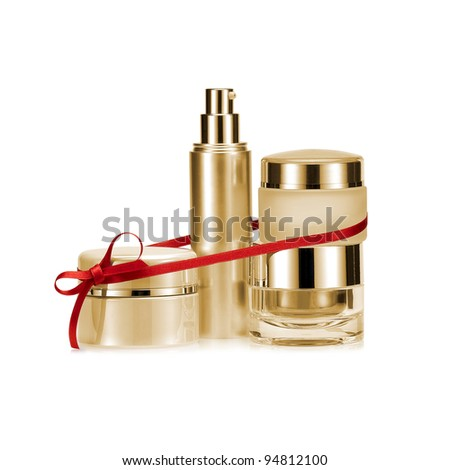 Golden nameless beauty set gift on white background - stock photo