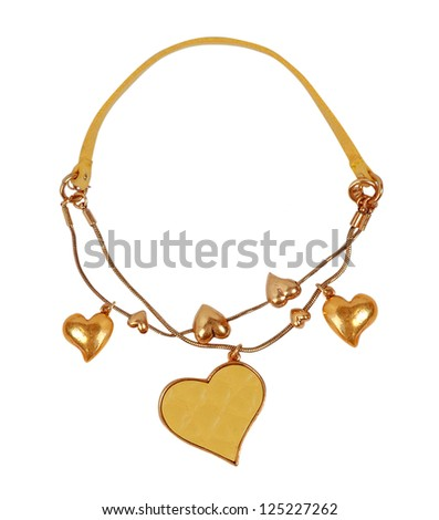 golden necklace - stock photo