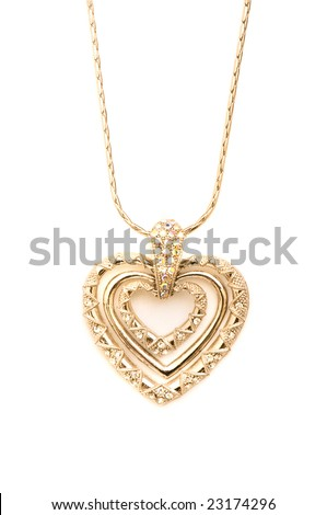 Golden necklace isolated on the white background - stock photo
