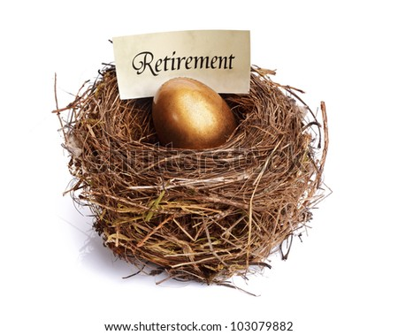 Golden nest egg concept for retirement savings - stock photo