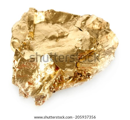 Golden nugget isolated on white - stock photo