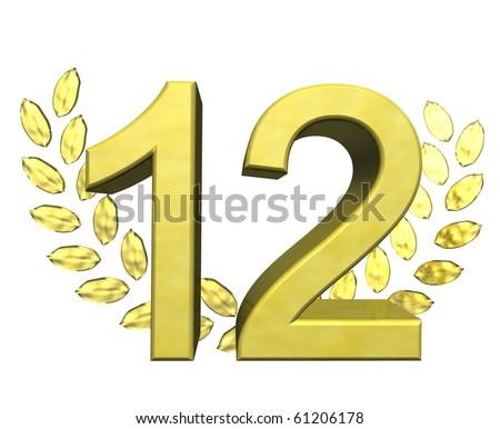golden number 12 - stock photo