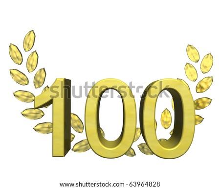 golden number 100 - stock photo