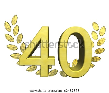 golden number forty - stock photo
