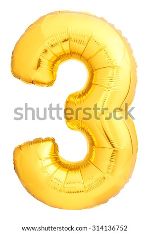Golden number 3 made of inflatable balloon isolated on white background. One of full number set - stock photo
