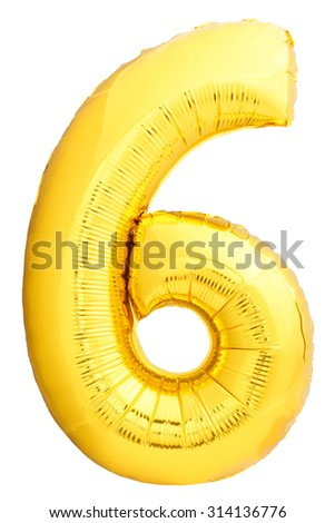 Golden number 6 made of inflatable balloon isolated on white background. One of full number set - stock photo