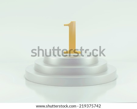 Golden number 1 on podium top  - stock photo