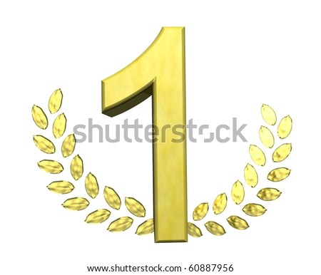 golden number one - stock photo