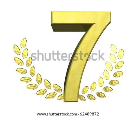 golden number seven - stock photo