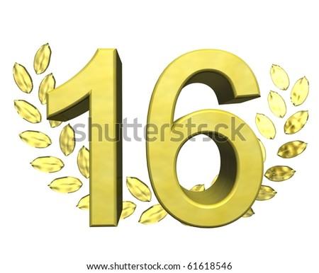 golden number sixteen - stock photo