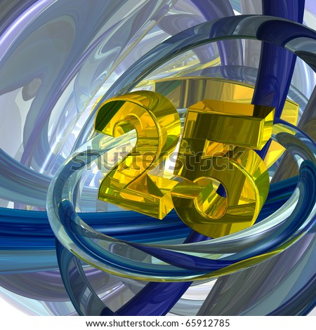 golden number twenty five in techno space - 3d illustration - stock photo