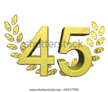 golden number 45 with laurel wreath - stock photo