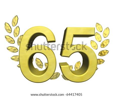 golden number 65 with laurel wreath - stock photo