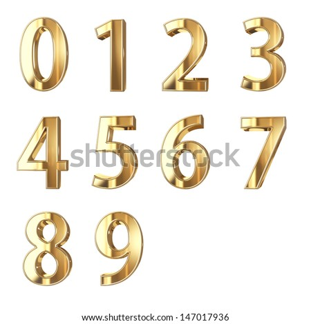 golden numbers isolated with clippign path - stock photo