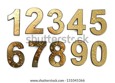 Golden numbers with drops, isolated on white - stock photo