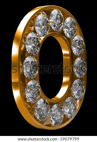 Golden O letter incrusted with diamonds. Other characters are in my portfolio