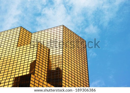 Golden office building - stock photo