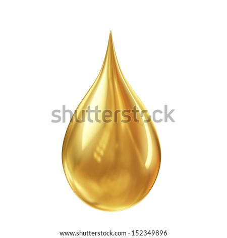 golden oil droplet isolated on white background - stock photo
