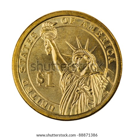 Golden one dollar coin isolated on white - stock photo