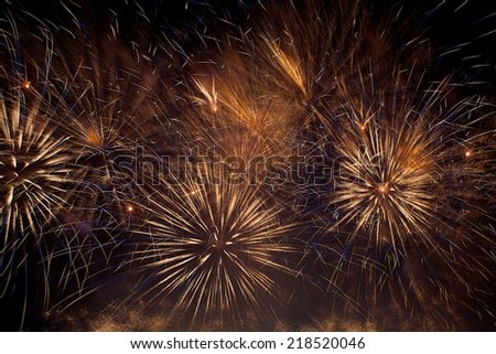 Golden orange amazing fireworks texture in dark background close up with the place for text, Malta fireworks festival, 4 of July, Independence day, New Year, explode, Vilnius festival, fireworks show - stock photo