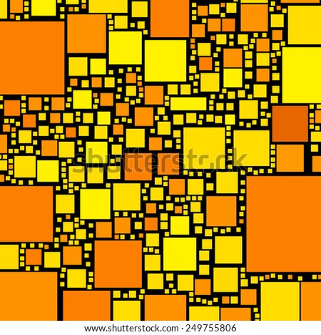 Golden, orange and yellow color squares on black illustration. - stock photo