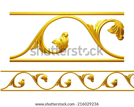golden ornamental element for a frieze or frame - stock photo
