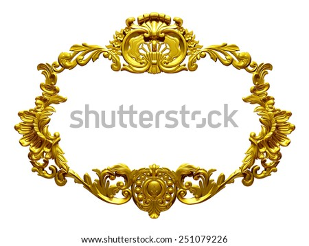golden, ornamental frame - stock photo