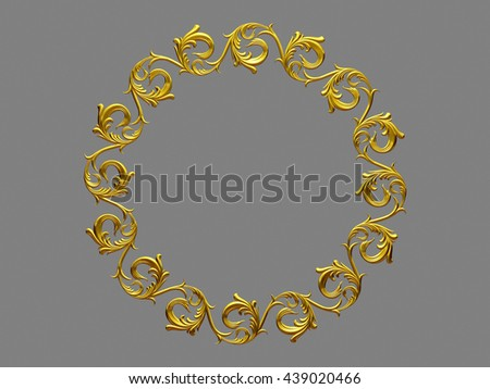 "golden ornamental frame, ""whirl"", round version, 3d illustration - stock photo"