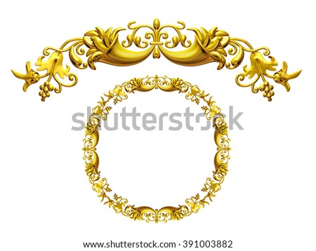 "golden ornamental segment, ""cornucopia"", round version for ninety degree corners or curve and circle - stock photo"