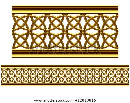 """golden ornamental segment, """"net"""", straight version for frieze or border. 3d illustration - stock photo"""
