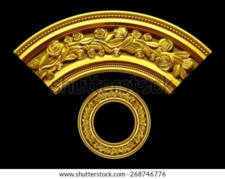 "golden ornamental segment, ""rose"", round version for corner or circle - stock photo"