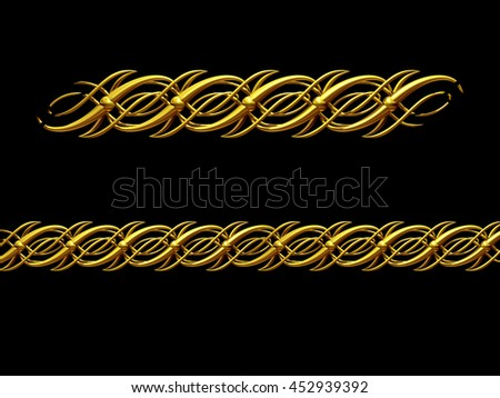 "golden ornamental segment, ""script1"", straight version for frieze, frame or border, 3d illustration - stock photo"