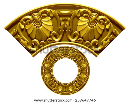 "golden ornamental segment, ""Sima"", round version for corner or circle - stock photo"