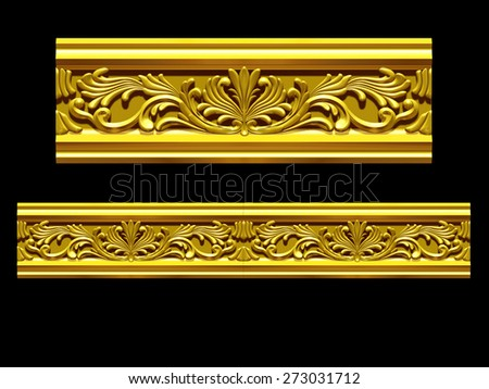 "golden ornamental segment, ""splash"", straight version for frieze, frame or border - stock photo"