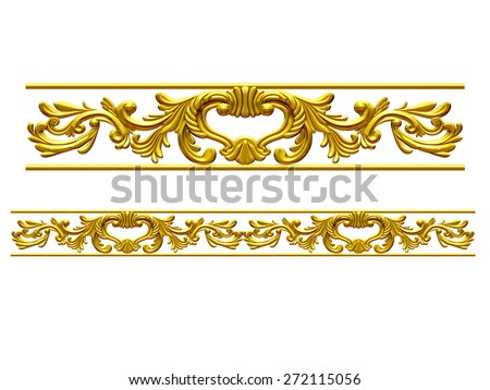 "golden ornamental segment, ""wings"", straight version for frieze, frame or border - stock photo"