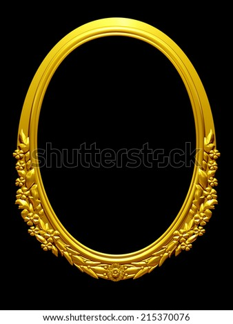 golden oval frame with ornaments in gold for pictures or mirror - stock photo