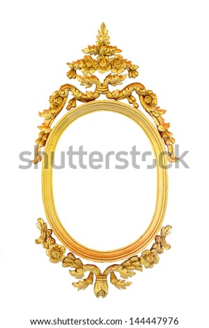 Golden oval Thai style frame isolated on white background - stock photo