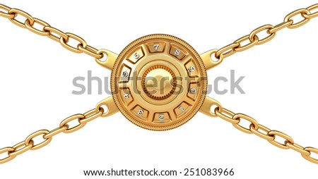 golden padlock and chain isolated on white background. - stock photo