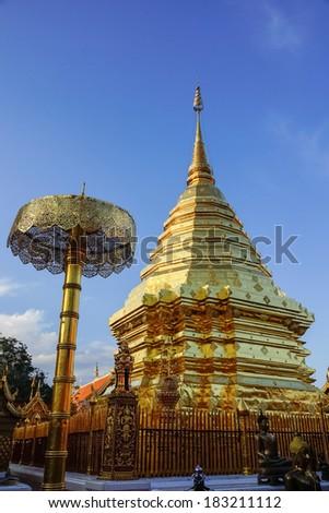 Golden pagoda on a mountain in Thailand.