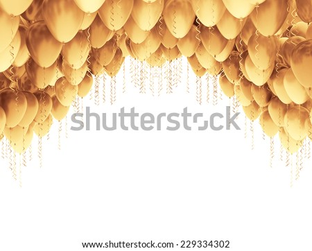 Golden party balloons isolated on white background  - stock photo