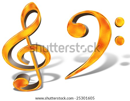 golden pattern Musical symbols notes concept 3D render isolated on white - stock photo