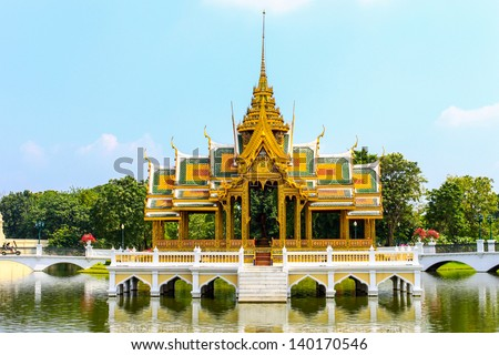 Golden Pavilion, Bang Pa-In Palace in Ayuthaya, Thailand.
