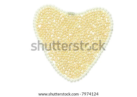 Golden pearl heart abstract background