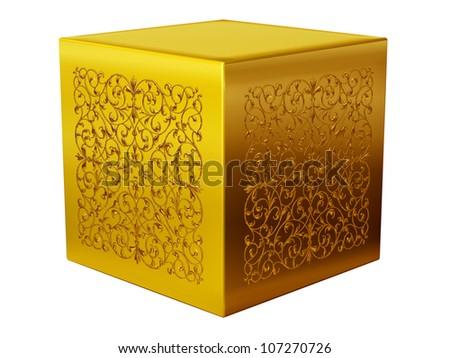 golden pedestal, platform, resting place - stock photo