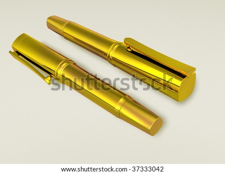 golden pens - stock photo